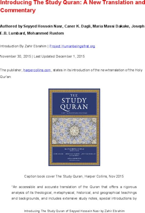 the study quran a introducing the study quran of seyyed hossein nasr by zahir ebrahim indybay