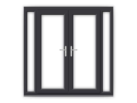 French Doors Size - 5ft anthracite grey upvc french doors with narrow side panels flying doors