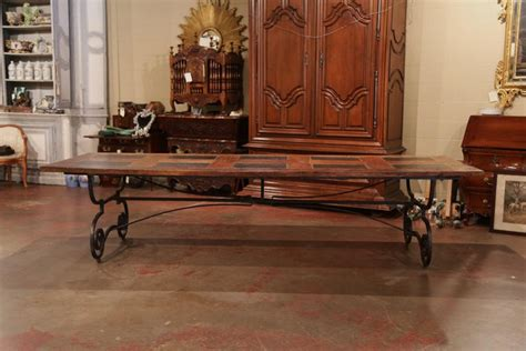 large french chestnut  slate dining room table