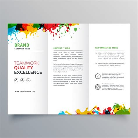 brochure design with trifold colorful template trifold business brochure template with colorful paint