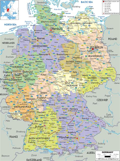 cities in germany large detailed political and administrative map of germany