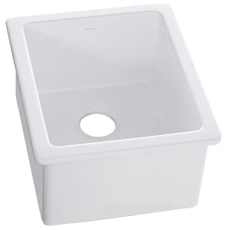 elkay undermount fireclay 16 in bar sink in white