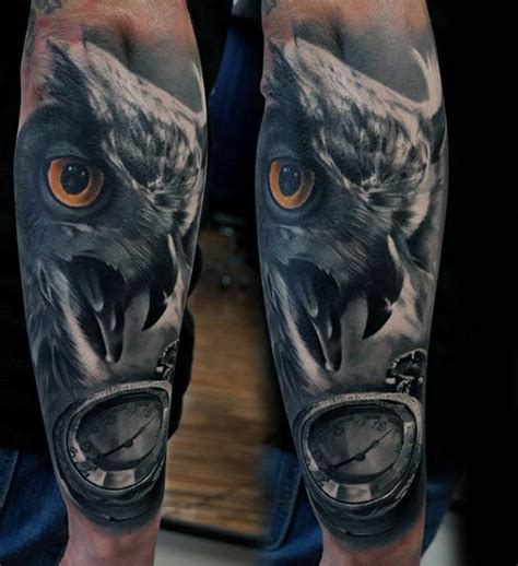 owl tattoo clock eyes collection of 25 realistic owl with clock tattoo on forearm