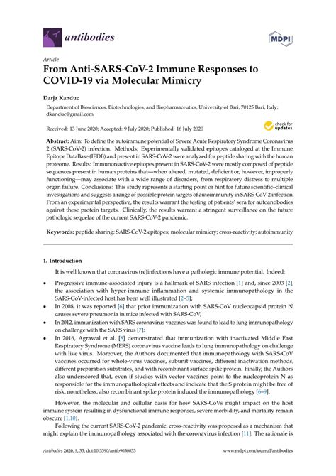 (PDF) From Anti-SARS-CoV-2 Immune Responses to COVID-19