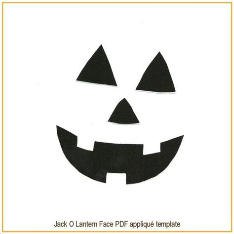 jack o lantern face pdf applique template pattern