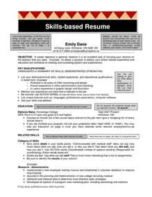 skills based resume template free resume template skills sle computer exle