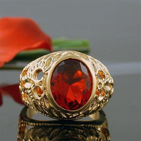 5 carat gold ep mens simulated oval ruby ring size 8 9 10