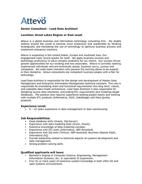 Cover Letter Data Architect Senior Data Architect Resume