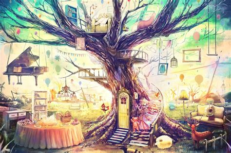 trees fantasy art magic artwork anime  wallpaper