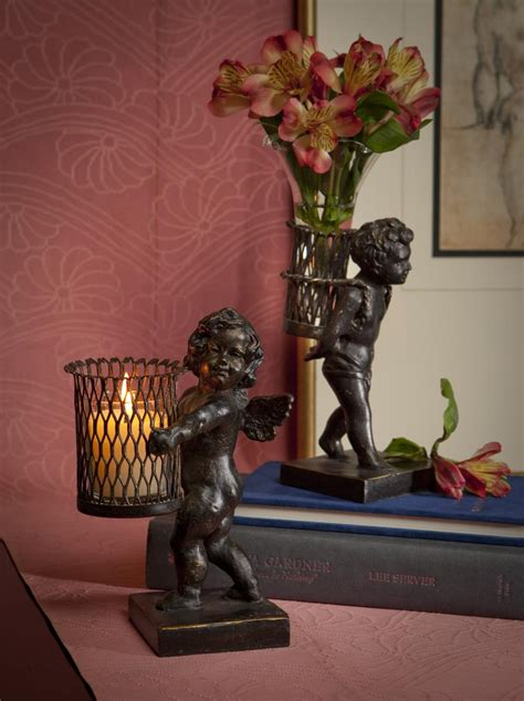 angel home decor bronze iron angel sculpture with votive home decor