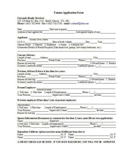 rental application form template 42 rental application forms lease agreement templates