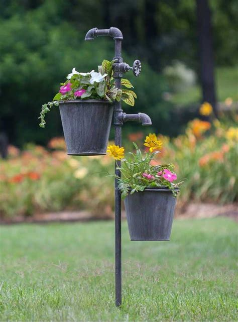 Faucet Garden Stake With Two Planters Garden Stakes Garden Flower Pot