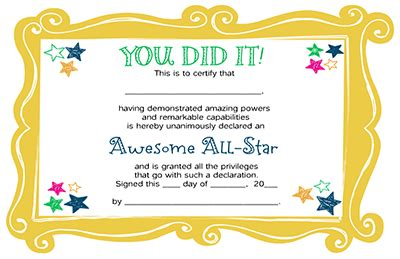 printable all star certificates the quot you did it quot certificate certificate congratulations