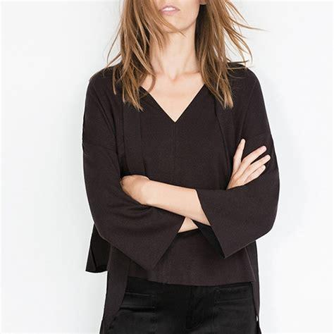 21230 Black Chiffon Casual Blouse womens fashion v neck bell sleeve shirt chiffon blouse casual tops white black ebay