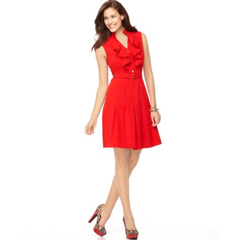 Aline Button Dress calvin klein sleeveless ruffled belted button aline dress in lyst