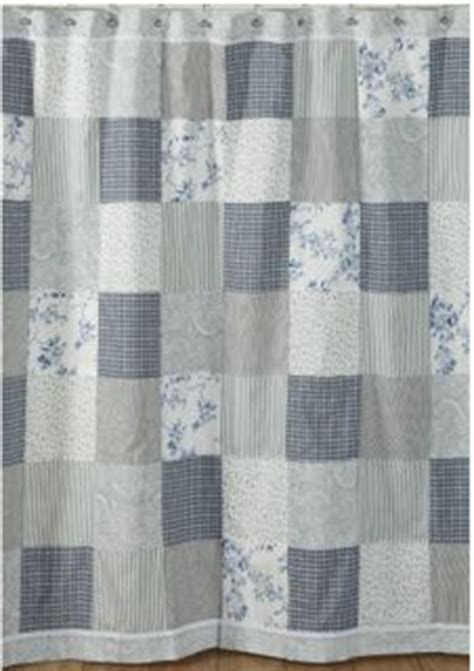 Blue Patchwork Curtains - blue ruffled patchwork kitchen curtain valance country