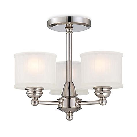 Minka Light Fixtures Minka Lavery 174 1730 Series 3 Light Semi Flush Mount Fixture In Polished Nickel With Glass Shade