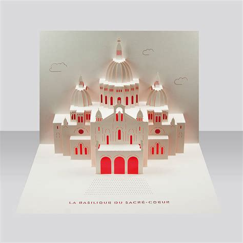 pop up card sacre coeur pop up card by paper