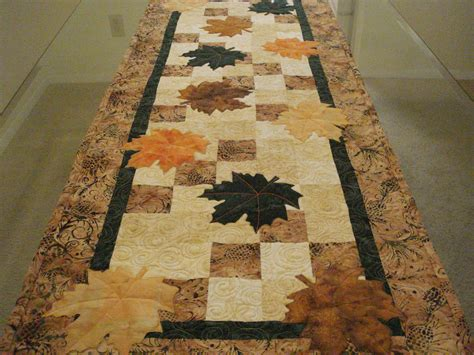 leaf pattern table runner quilted table runner batik autumn leaves