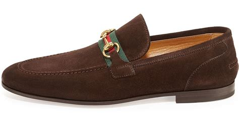 gucci suede loafer gucci suede horsebit loafer in brown for lyst