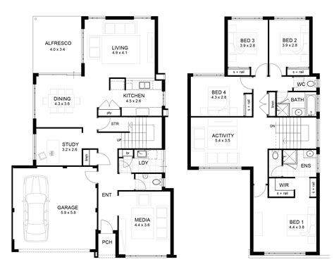 home designs and floor plans 2 storey house floor plan with perspective modern house plan