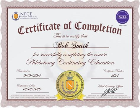 Phlebotomy Continuing Education Phlebotomy Ce Credits Ceu Certificate Of Completion Template
