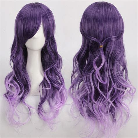 bed head purple shoo anime wigs long purple ombre side bang wavy cosplay