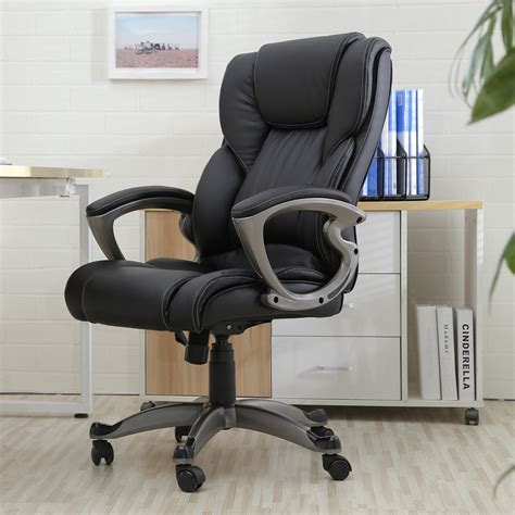 leather computer desk black pu leather high back office chair executive task