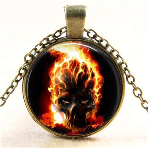 Best Seller Kacamata Skull Rider 01 A ghost rider burning skull glass pendant necklace vintage bronze photo glass dome