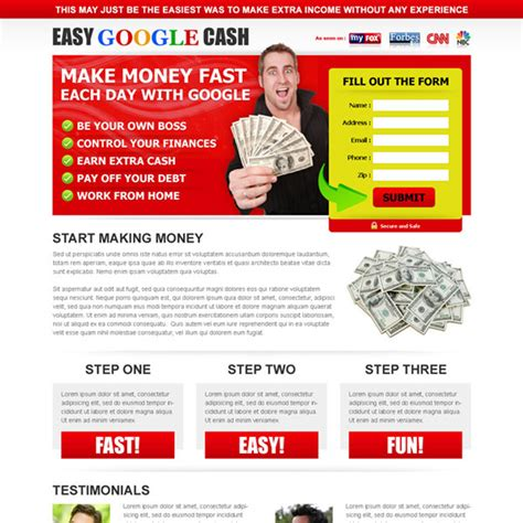 Make Money Online Fast Free And Easy - make money fast each day with google attractive and effective squeeze page design