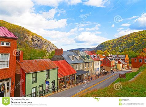On The Town Nation by Harpers Ferry Historic Town In Autumn And Blue Ridge