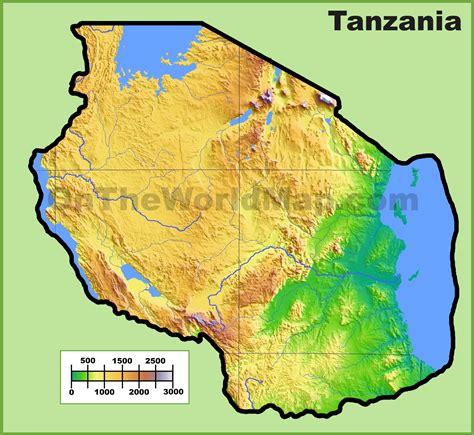 physical map of tanzania tanzania physical map