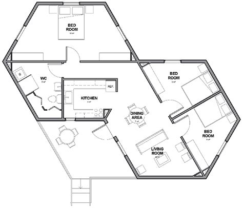 Hexagonal House Plans by Small Hexagon House Plans With Regard To Really Encourage