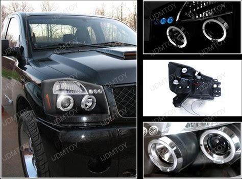 nissan titanarmada black dual halo projector led headlights