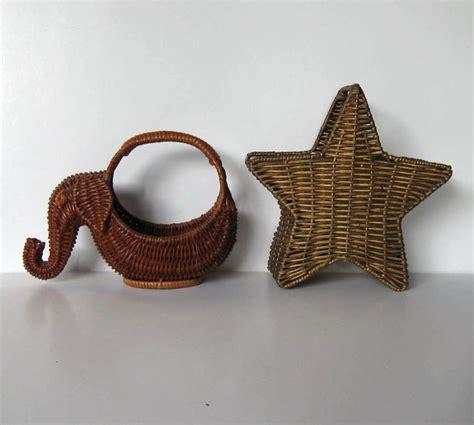 home decor baskets 2 small vintage baskets home decor wicker elephant star