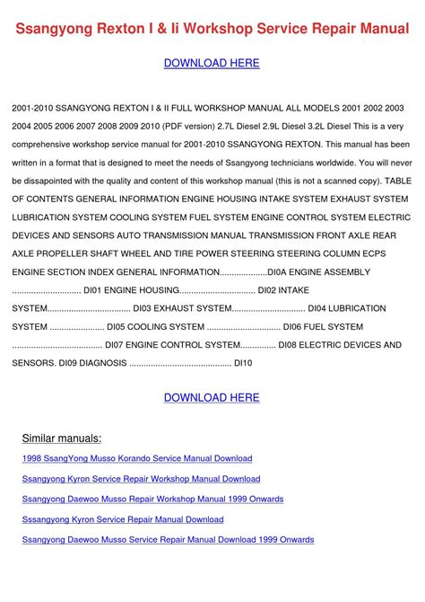 electric power steering 2001 daewoo lanos transmission control ssangyong rexton i ii workshop service repair by sammieryder issuu