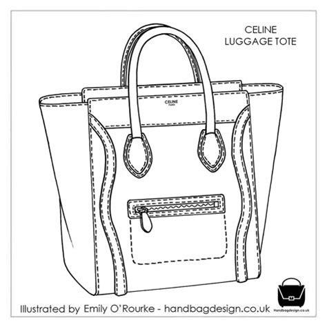drawing bag pattern celine luggage tote designer handbag illustration