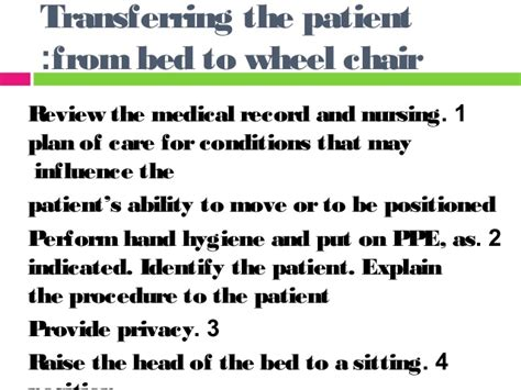 bed to chair transfer procedure moving and turning the client in bed