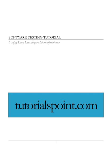 Tutorialspoint Software Testing | software testing