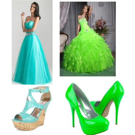 cyan and lime green prom dresses shoes polyvore