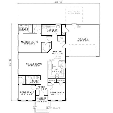 southern style floor plans southern style house plan 3 beds 2 baths 1252 sq ft plan 17 2215