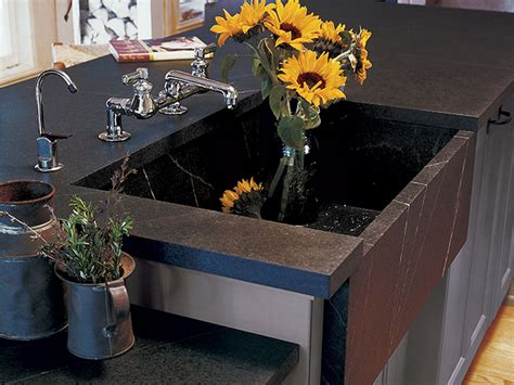 Vermont Soapstone Company - multi level counter with sink vermont soapstone