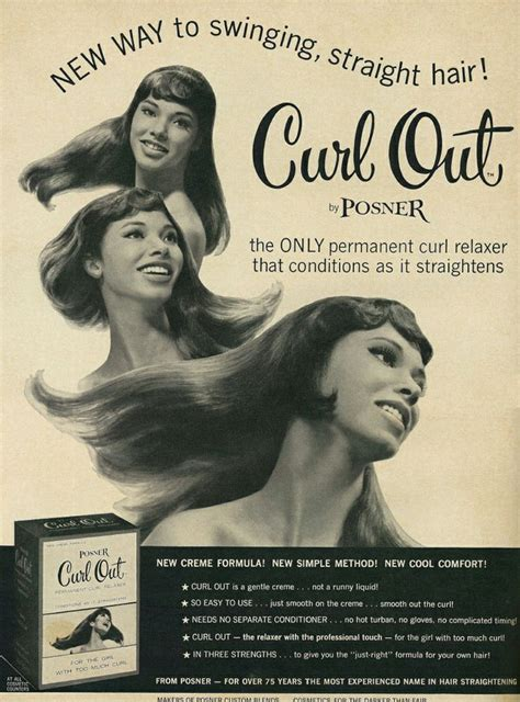 old fashsion hair relaxer for african americcan hair 1967 posner curl out relaxer ad advertisement with you