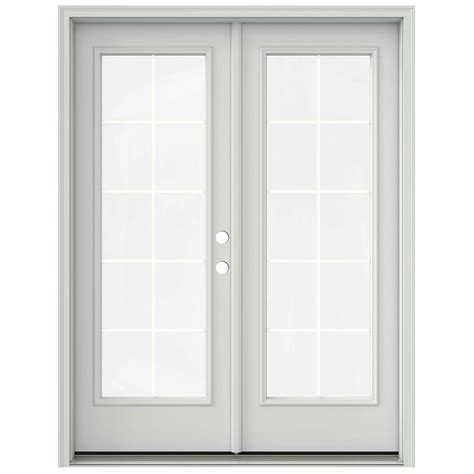 Prehung Patio Doors Jeld Wen 60 In X 80 In Primed Prehung Left Inswing 10 Lite Patio Door With