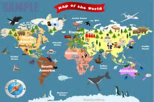 Map Of The World For Kids by Personalized Laminated World Map For Kids Let S