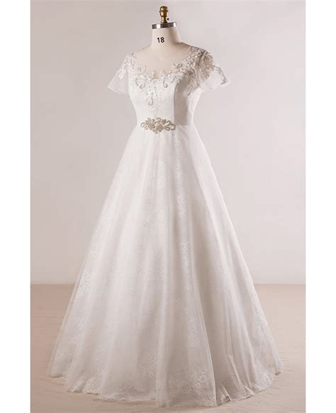 Beaded Lace A Line Dress plus size beaded lace a line wedding dress with
