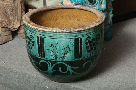 Large Ceramic Planter Large Hunan Turquoise Glazed Antique Ceramic Planter At