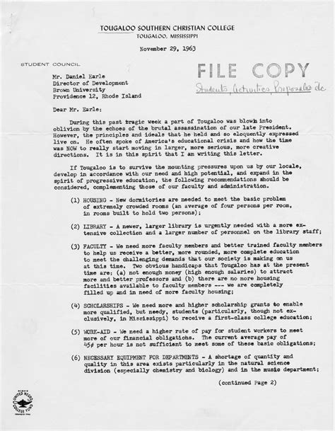 College President Letter To Students Brown Tougaloo Project Document Search Results