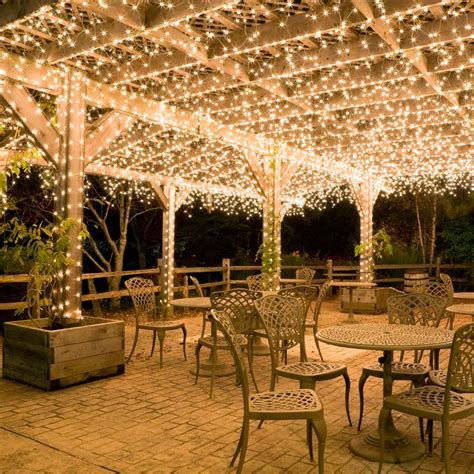 hang white icicle lights to create magical outdoor