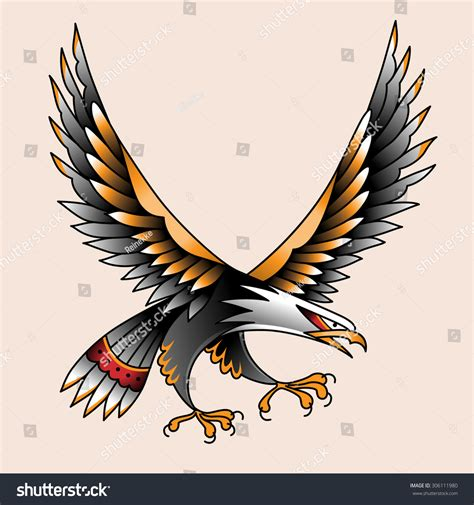 traditional eagle tattoo vector flying eagle color tattoo traditional old stock vector